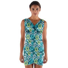 Tropical Flowers Menthol Color Wrap Front Bodycon Dress by olgart