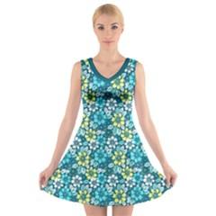 Tropical Flowers Menthol Color V Neck Sleeveless Skater Dress by olgart