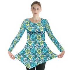 Tropical Flowers Menthol Color Long Sleeve Tunic  by olgart