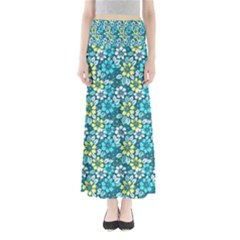 Tropical Flowers Menthol Color Maxi Skirts by olgart