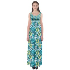 Tropical Flowers Menthol Color Empire Waist Maxi Dress by olgart
