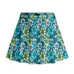 Tropical Flowers Menthol Color Mini Flare Skirt by olgart