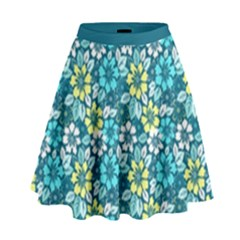 Tropical Flowers Menthol Color High Waist Skirt