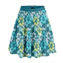Tropical flowers Menthol color High Waist Skirt View1