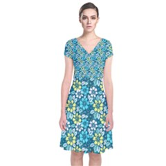 Tropical Flowers Menthol Color Short Sleeve Front Wrap Dress by olgart