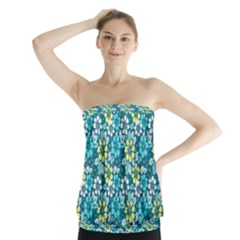 Tropical Flowers Menthol Color Strapless Top by olgart
