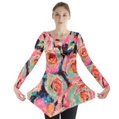 Pastel Painted Roses Long Sleeve Tunic  by LisaGuenDesign