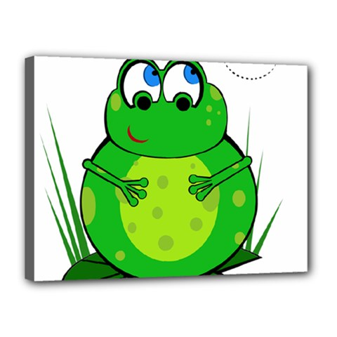 Green Frog Canvas 16  X 12  by Valentinaart