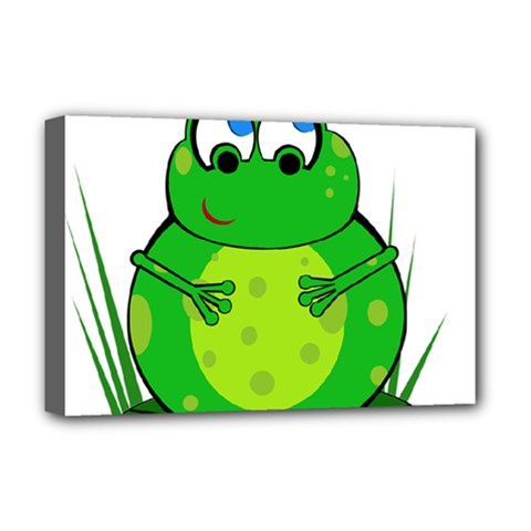 Green Frog Deluxe Canvas 18  X 12   by Valentinaart