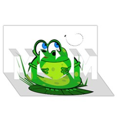 Green Frog Mom 3d Greeting Card (8x4)  by Valentinaart
