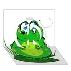 Green Frog Peace Sign 3d Greeting Card (7x5)  by Valentinaart