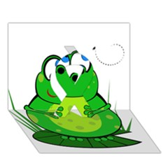 Green Frog Ribbon 3d Greeting Card (7x5)  by Valentinaart