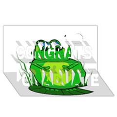 Green Frog Congrats Graduate 3d Greeting Card (8x4)  by Valentinaart
