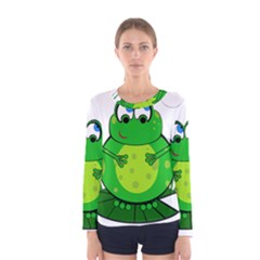 Green Frog Women s Long Sleeve Tee by Valentinaart