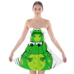 Green Frog Strapless Dresses by Valentinaart