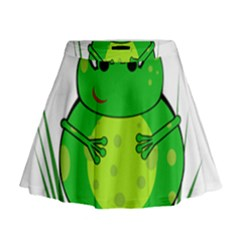 Green Frog Mini Flare Skirt by Valentinaart