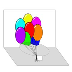 Colorful Balloons Circle Bottom 3d Greeting Card (7x5)  by Valentinaart
