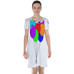 Colorful Balloons Short Sleeve Nightdress by Valentinaart