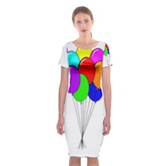 Colorful Balloons Classic Short Sleeve Midi Dress