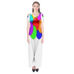 Colorful Balloons Short Sleeve Maxi Dress