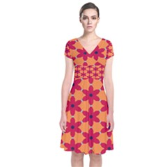 Red Flowers Pattern                                           Short Sleeve Front Wrap Dress