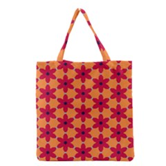 Red Flowers Pattern                                                                            Grocery Tote Bag by LalyLauraFLM