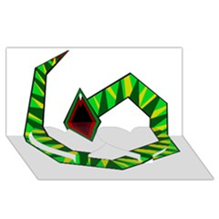 Decorative Snake Twin Heart Bottom 3d Greeting Card (8x4)  by Valentinaart