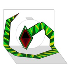 Decorative Snake Circle 3d Greeting Card (7x5)  by Valentinaart