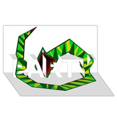 Decorative Snake Party 3d Greeting Card (8x4)  by Valentinaart