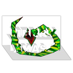 Decorative Snake Merry Xmas 3d Greeting Card (8x4)  by Valentinaart
