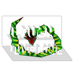 Decorative Snake Laugh Live Love 3d Greeting Card (8x4)  by Valentinaart