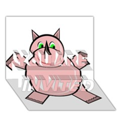Pink Rhino You Are Invited 3d Greeting Card (7x5)  by Valentinaart