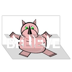 Pink Rhino Believe 3d Greeting Card (8x4)  by Valentinaart