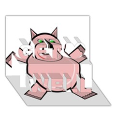 Pink Rhino Get Well 3d Greeting Card (7x5)  by Valentinaart