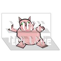 Pink Rhino Laugh Live Love 3d Greeting Card (8x4)  by Valentinaart