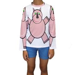 Pink Rhino Kid s Long Sleeve Swimwear by Valentinaart