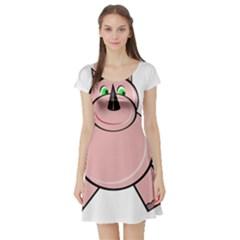 Pink Rhino Short Sleeve Skater Dress by Valentinaart