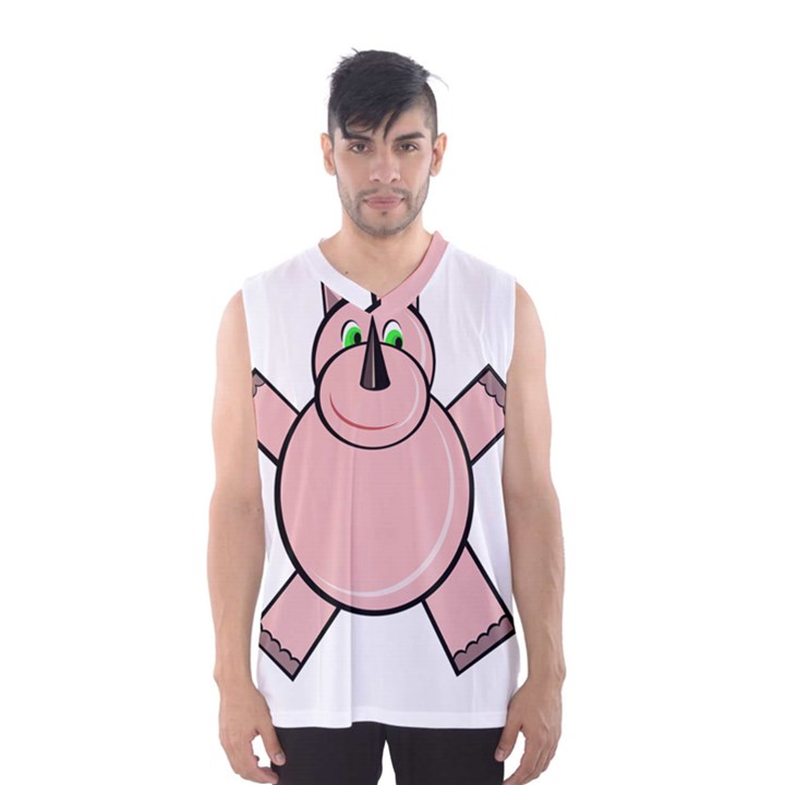 Pink Rhino Men s Basketball Tank Top
