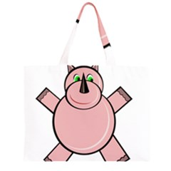 Pink Rhino Zipper Large Tote Bag by Valentinaart