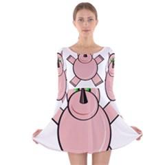 Pink Rhino Long Sleeve Velvet Skater Dress by Valentinaart