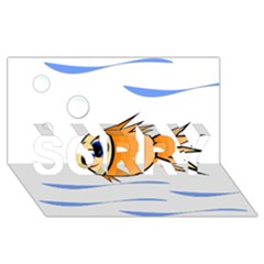 Cute Fish Sorry 3d Greeting Card (8x4)  by Valentinaart