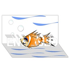 Cute Fish Engaged 3d Greeting Card (8x4)