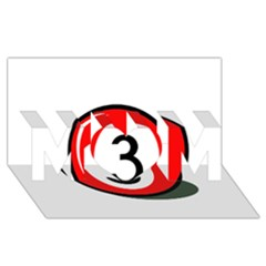 Billiard Ball Number 3 Mom 3d Greeting Card (8x4)