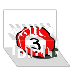 Billiard Ball Number 3 You Did It 3d Greeting Card (7x5) by Valentinaart