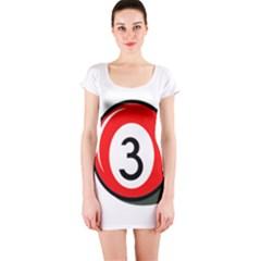 Billiard Ball Number 3 Short Sleeve Bodycon Dress by Valentinaart