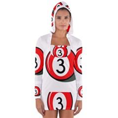Billiard Ball Number 3 Women s Long Sleeve Hooded T Shirt by Valentinaart