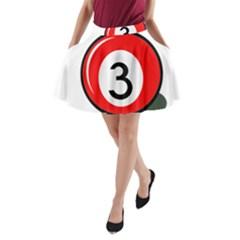 Billiard Ball Number 3 A Line Pocket Skirt by Valentinaart