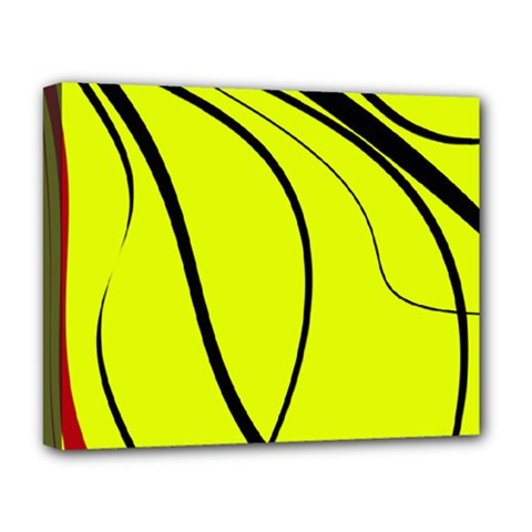 Yellow Decorative Design Deluxe Canvas 20  X 16   by Valentinaart