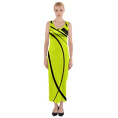 Yellow Decorative Design Fitted Maxi Dress by Valentinaart