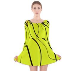 Yellow Decorative Design Long Sleeve Velvet Skater Dress by Valentinaart